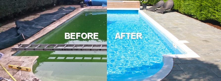 before after pool images